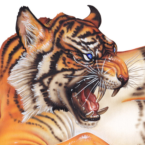 Red Fracture - Close up of a growling tiger head painted in acrylics.