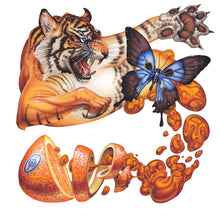 Load image into Gallery viewer, Red Fracture - Sean Chappell - Marmalade cat attack, surreal painting, airbrush, tiger butterfly orange juice