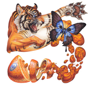 Red Fracture - Sean Chappell - Marmalade cat attack, surreal painting, airbrush, tiger butterfly orange juice