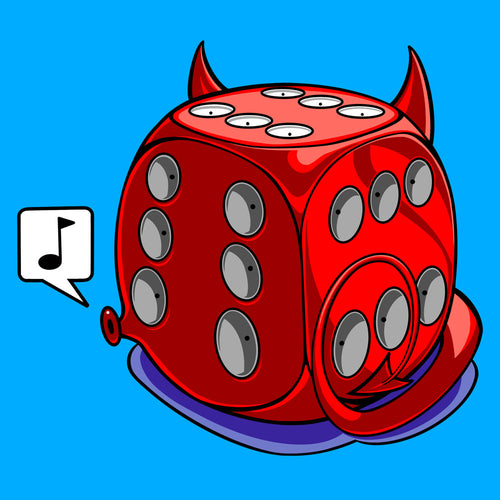 T-shirt, Nonchalant Devil Dice by RAMSTAR Games - D6 with 6 on all sides, geek, nerd, board game merchandise