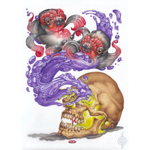 Load image into Gallery viewer, Red Fracture - Sean Chappell - Nosferatu Dreams of Koi, surreal painting, fish, vampire skull airbrush art