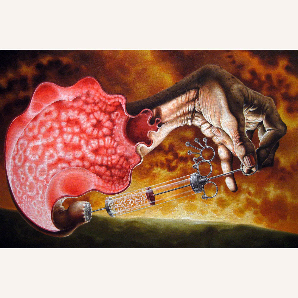 Red Fracture - Sean Chappell - Acrylic painting, canvas, modern medicine, infinity, syringe, hand, skyscape, surrealism.