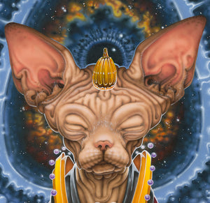 Red Fracture - Sean Chappell - surreal painting, surrealism, Salvador Dali, meditation, sphynx cat, cat painting, airbrush art