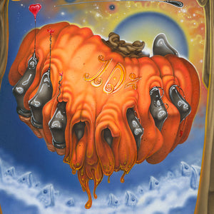 Red Fracture - Sean Chappell - Acrylic painting, surreal art, Salvador Dali, surrealism, pumpkin, cat painting