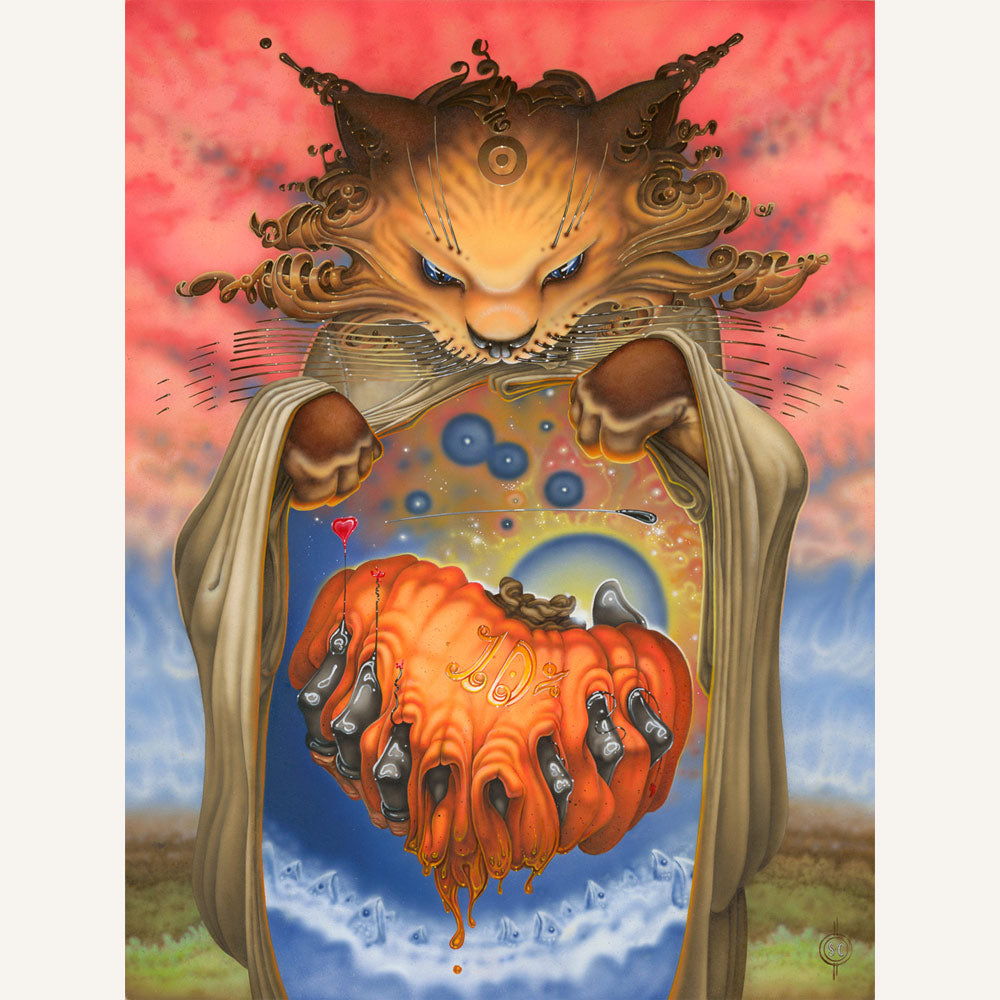 Red Fracture - Sean Chappell - Acrylic painting, illustration board, airbrush, cat painting, surreal, surrealism, Salvador Dali, Pumpkin
