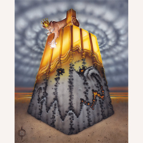 Red Fracture - Sean chappell - acrylic painting, cat, cats, midas touch, gold, pumpkin, macabre, surreal, surrealism