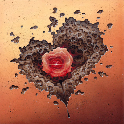 Red Fracture - The Breakthrough - Original airbrush painting by Sean Chappell - Depicted, a corroded patch in a wall in the shape of a heart with a flower growing out of it's center.