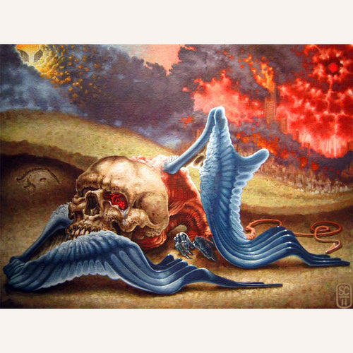 Red Fracture - Sean Chappell - Acrylic painting, canvas, skull, blue bird, Tav, hebrew alphabet, guf, end of the world.