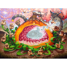Load image into Gallery viewer, Pumpkin, lamprey, cat, fantasy art, surrealism art, secret code art, acrylic painting, television static