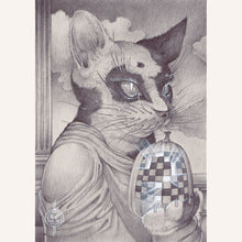 Load image into Gallery viewer, Sean Chappell - Red Fracture - cats and pumpkins, chess board, surreal drawing, artwork, surrealism, classical art