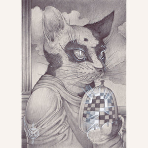Sean Chappell - Red Fracture - cats and pumpkins, chess board, surreal drawing, artwork, surrealism, classical art