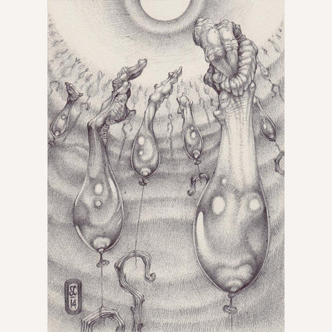 Red Fracture - Sean Chappell - Ballpoint pen drawing, stonehenge paper, balloon animals, deformed hands