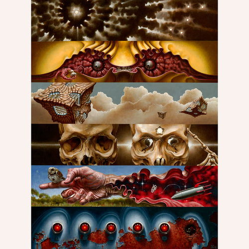 Red Fracture - Sean Chappell - Acrylic painting, canvas, monster, skulls, outer space, electronic eye, cubes, horror art, surrealism.