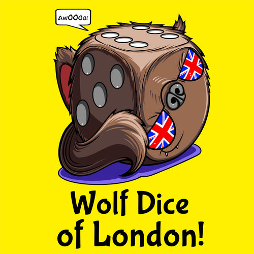 T-shirt, Wolf Dice of London by RAMSTAR Games - Werewolf, wolfman dice with union jack sunglasses