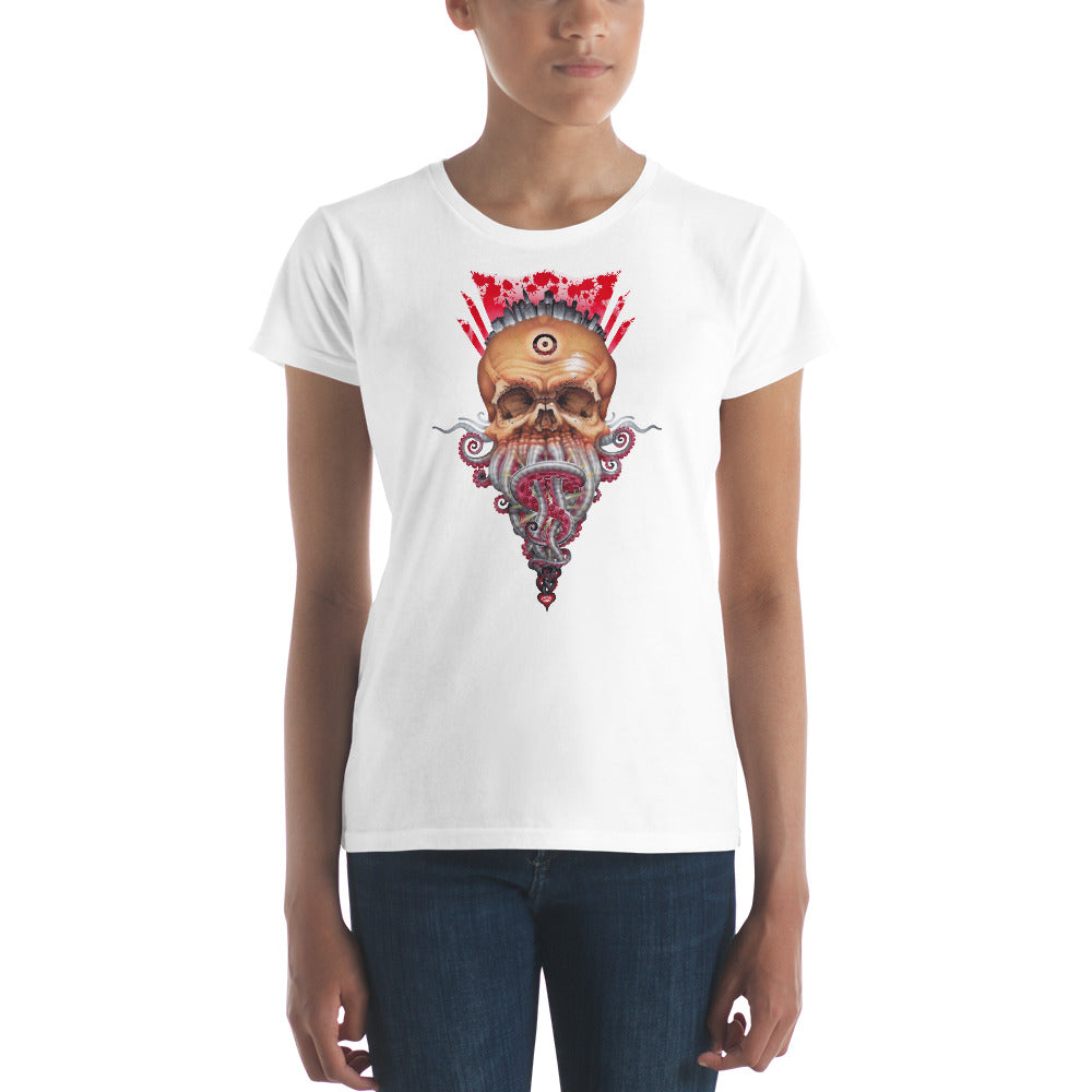 Red Fracture - Lord of Greed Ladies T-shirt. Featured, a woman wearing a t-shirt with an image of a skull with tentacles and dollar signs.