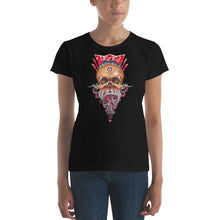Load image into Gallery viewer, Red Fracture - Lord of Greed Ladies T-shirt. Featured, a woman wearing a t-shirt with an image of a skull with tentacles and dollar signs.