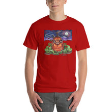 Load image into Gallery viewer, Red Fracture - Touched by the cosmic creator t-shirt - Featured, a man wearing a t-shirt with a pumpkin and chthulu on it.