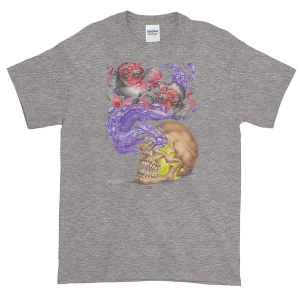 Red Fracture - Nosferatu Dreams of Koi t-shirt - Featured, a t-shirt with an image of a skull, koi fish and purple liquid on it.