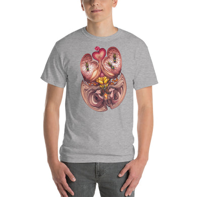 Red Fracture - Wasp of the Flesh T-shirt - Featured, a man wearing a t-shirt with a surreal image on it.