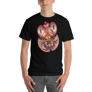 Red Fracture - Wasp of the Flesh T-shirt - Featured, a man wearing a t-shirt with a surreal image on it