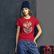 Load image into Gallery viewer, Red Fracture - Wasp of the flesh t-shirt - Feature, a hip woman wearing a t-shirt with a surreal image on it.