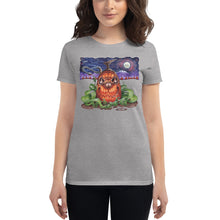 Load image into Gallery viewer, Red Fracture - Touched by the Cosmic Creator t-shirt. Featured, a woman wearing a t-shirt with a pumpkin and chthulu on it.