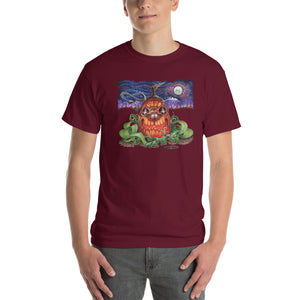 Red Fracture - Touched by the cosmic creator t-shirt - Featured, a man wearing a t-shirt with a pumpkin and chthulu on it.