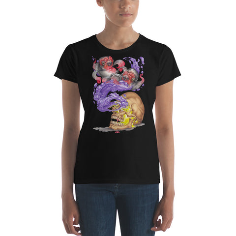 Red Fracture - Nosferatu Dreams of Koi Ladies Tee - Featured, a woman wearing a t-shirt with an image of a vampire skull, koi fish and purple liquid on it.