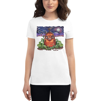 Red Fracture - Touched by the Cosmic Creator t-shirt. Featured, a woman wearing a t-shirt with a pumpkin and chthulu on it.