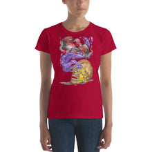 Load image into Gallery viewer, Red Fracture - Nosferatu Dreams of Koi Ladies Tee - Featured, a woman wearing a t-shirt with an image of a vampire skull, koi fish and purple liquid on it.