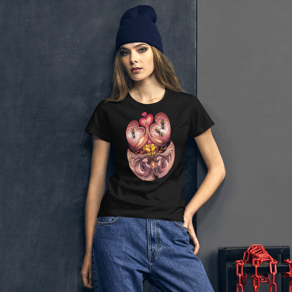 Red Fracture - Wasp of the flesh t-shirt - Feature, a hip woman wearing a t-shirt with a surreal image on it.
