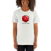 Load image into Gallery viewer, T-shirt, dice design by RAMSTAR Games - D20 with all 1's - Must be Monday caption