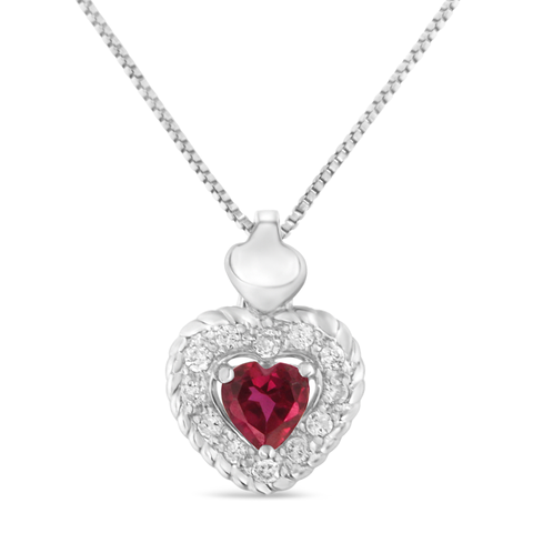 Sterling Silver 0.34ct TDW Ruby Heart and Diamond Heart Shape Pendant Necklace - All Baby Plush