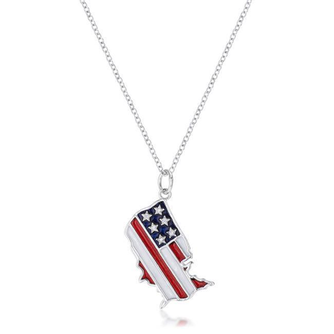 Patriotic U.S. Map Necklace with Red White and Blue Enamel - All Baby Plush