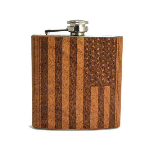 American Flag Wooden Hip Flask carved from Mahogany - All Baby Plush