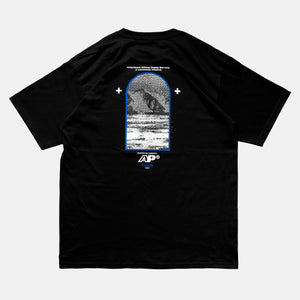 Back view of the screen-pinted ANTARTICA POST black t-shirt from PHOSIS Clothing