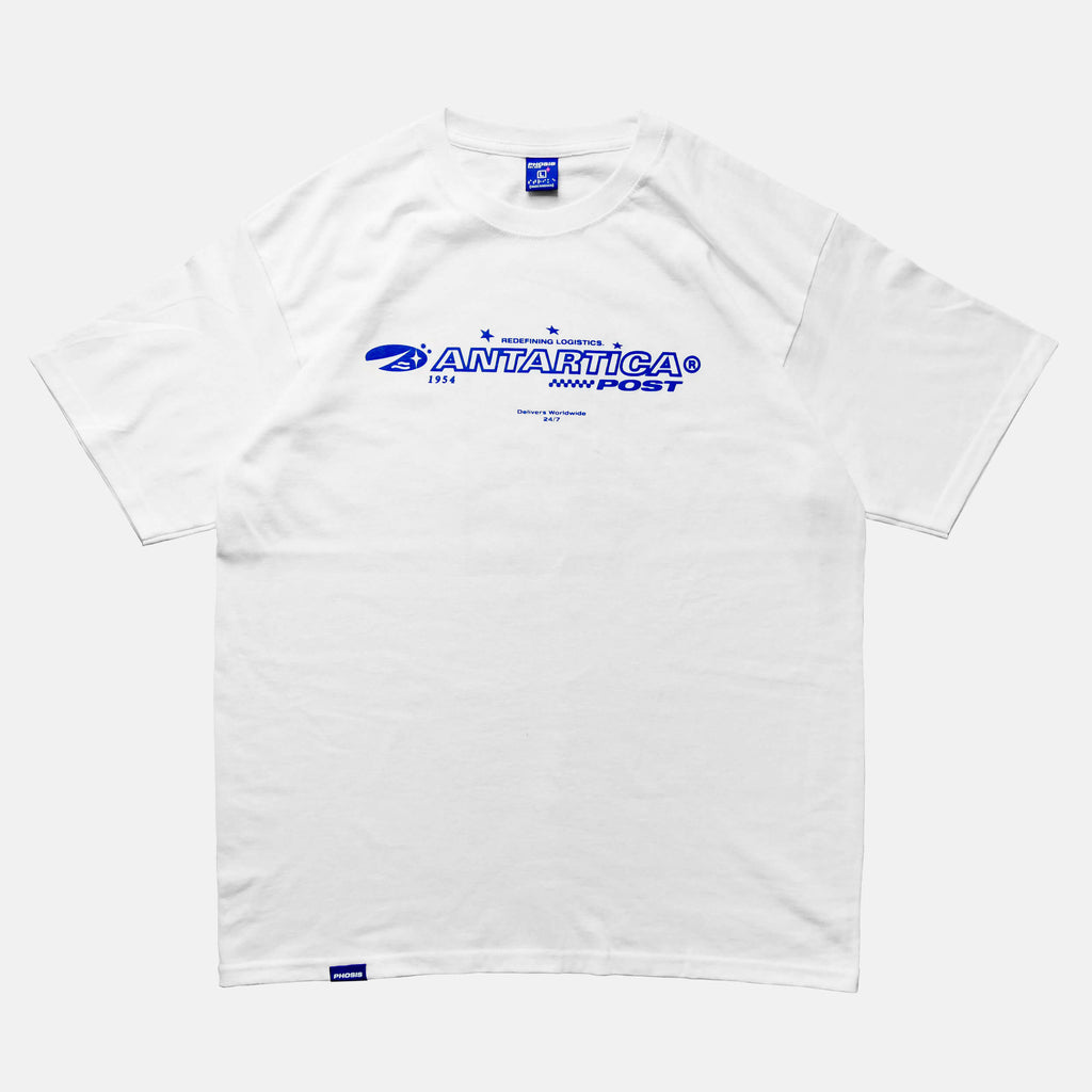 Front view of the screen-pinted ANTARTICA POST white t-shirt from PHOSIS Clothing