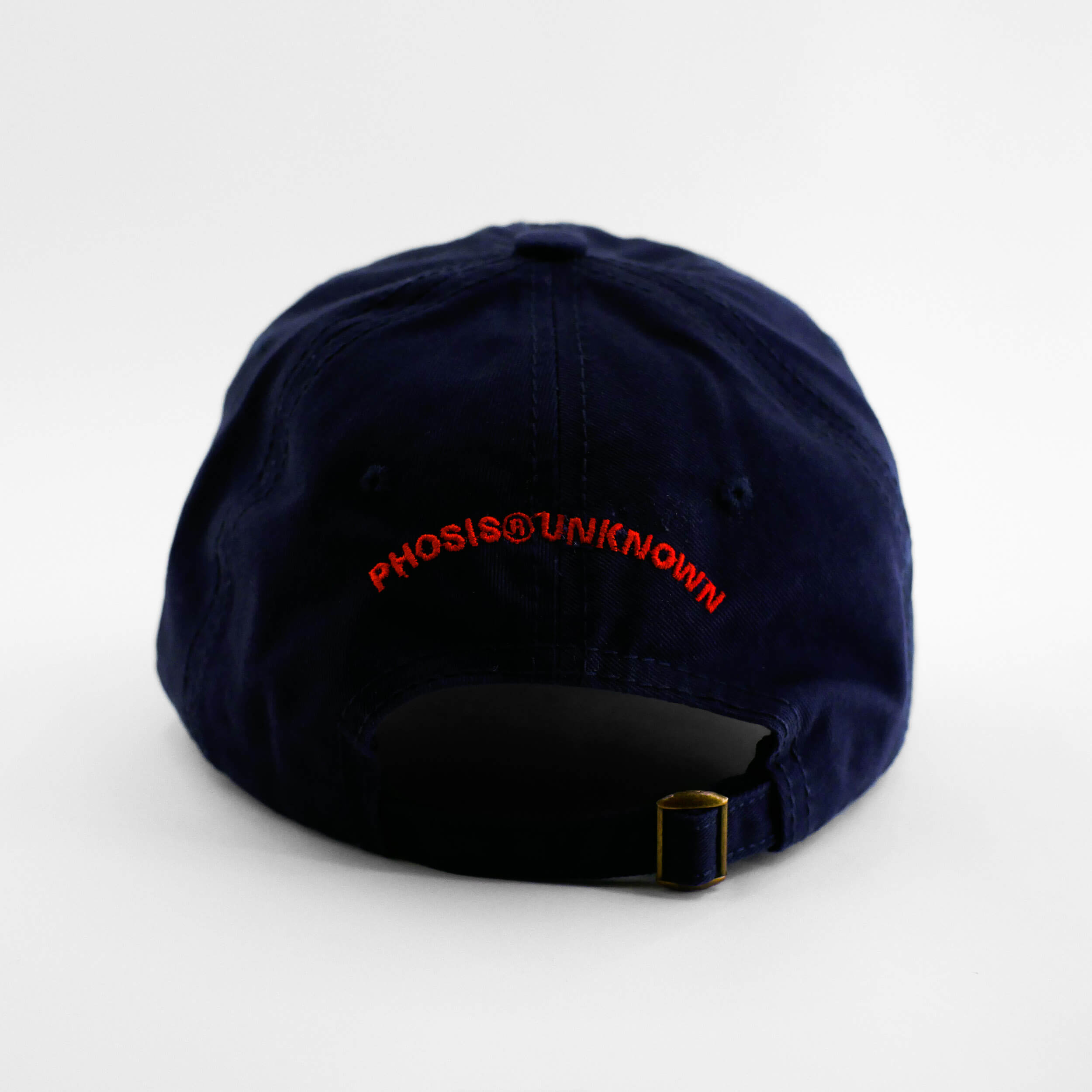 Back view of the embroidered ASCII Rose navy blue hat from PHOSIS Clothing