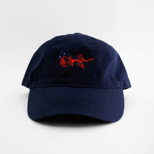 Front view of the embroidered ASCII Rose navy blue hat from PHOSIS Clothing