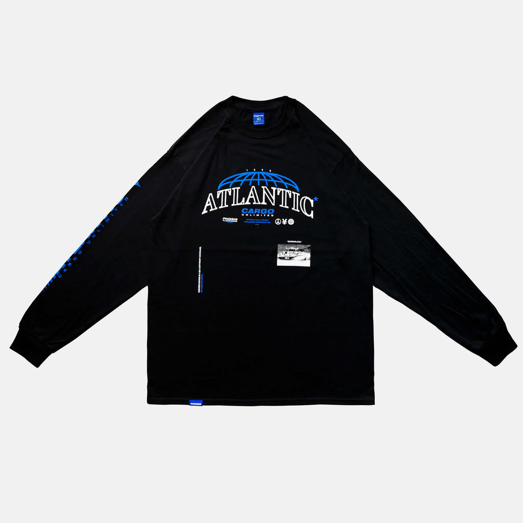 Front view of the screen-pinted ATLANTIC black long sleeve from PHOSIS Clothing