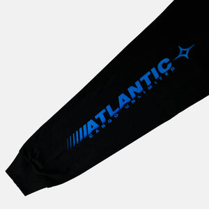 Sleeve close up of the screen-pinted ATLANTIC black long sleeve from PHOSIS Clothing