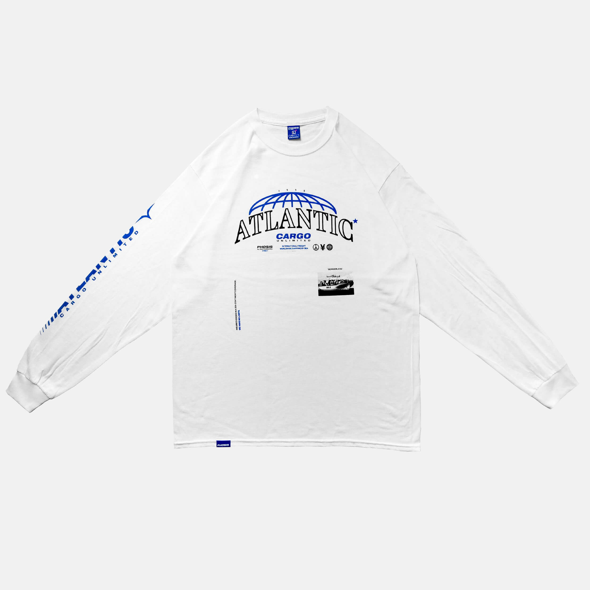 Front view of the screen-pinted ATLANTIC white long sleeve from PHOSIS Clothing