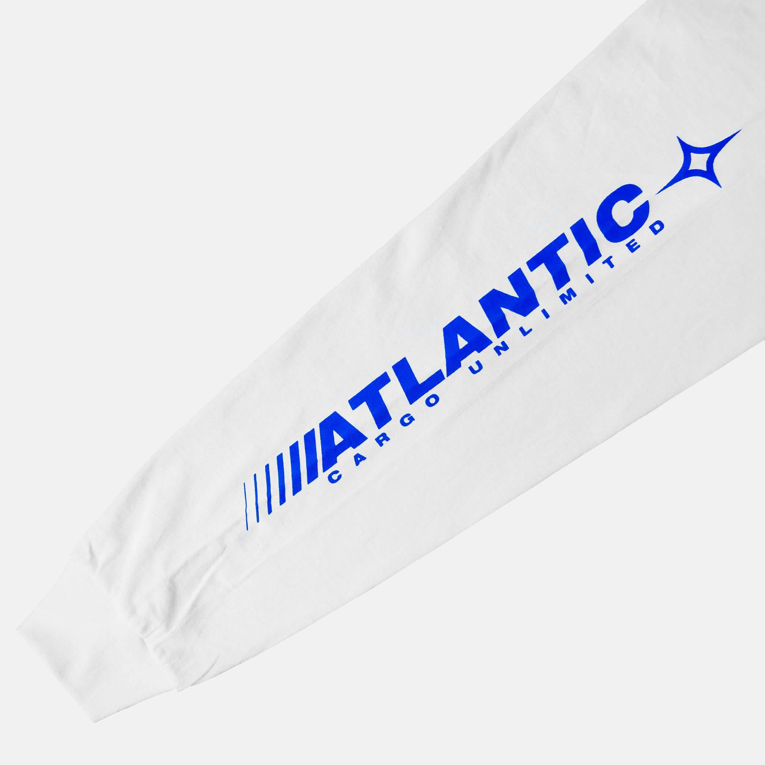 Sleeve close up of the screen-pinted ATLANTIC white long sleeve from PHOSIS Clothing