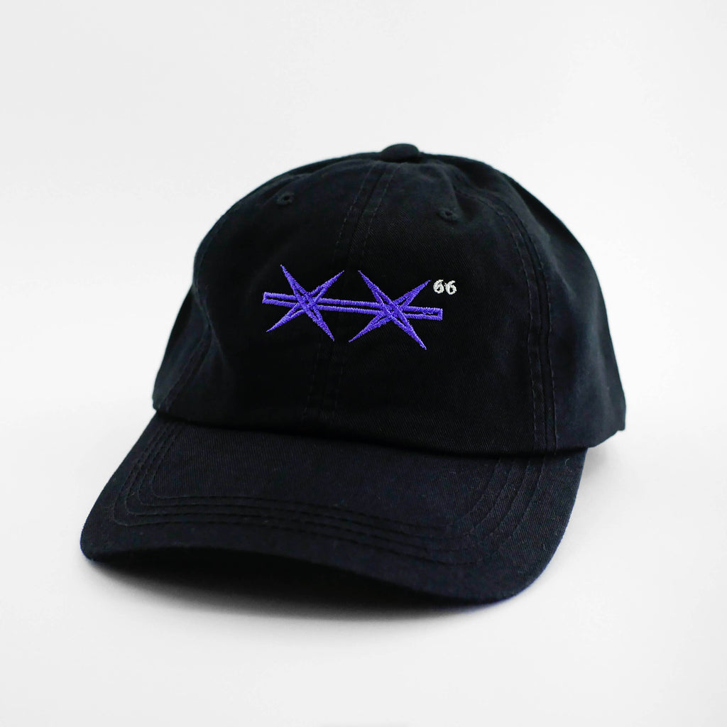 Angle view of the embroidered Barbed Wire black dad hat from PHOSIS Clothing