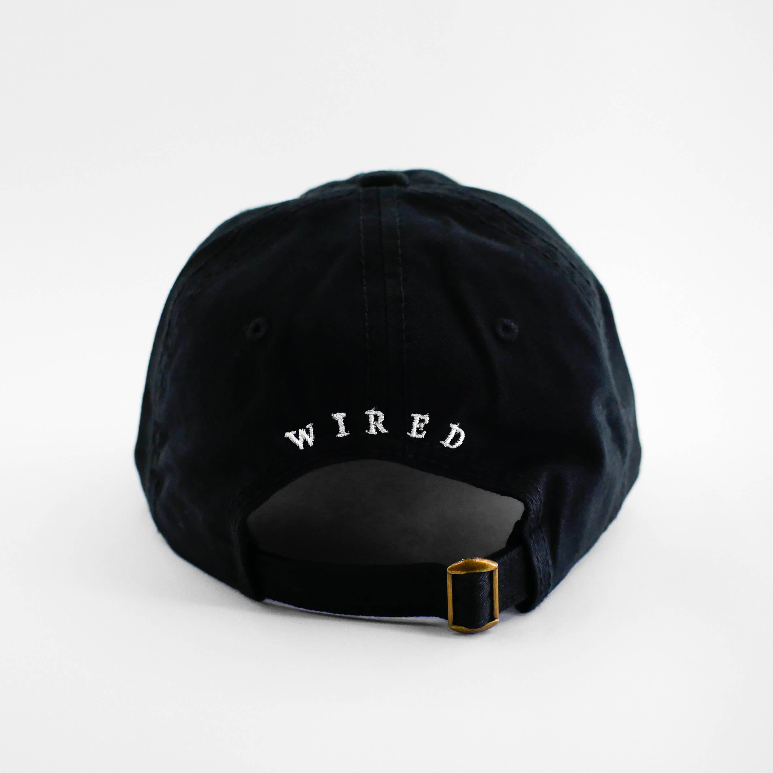 Back view of the embroidered Barbed Wire black dad hat from PHOSIS Clothing