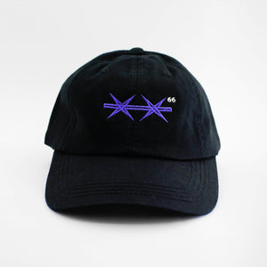 Front view of the embroidered Barbed Wire black dad hat from PHOSIS Clothing