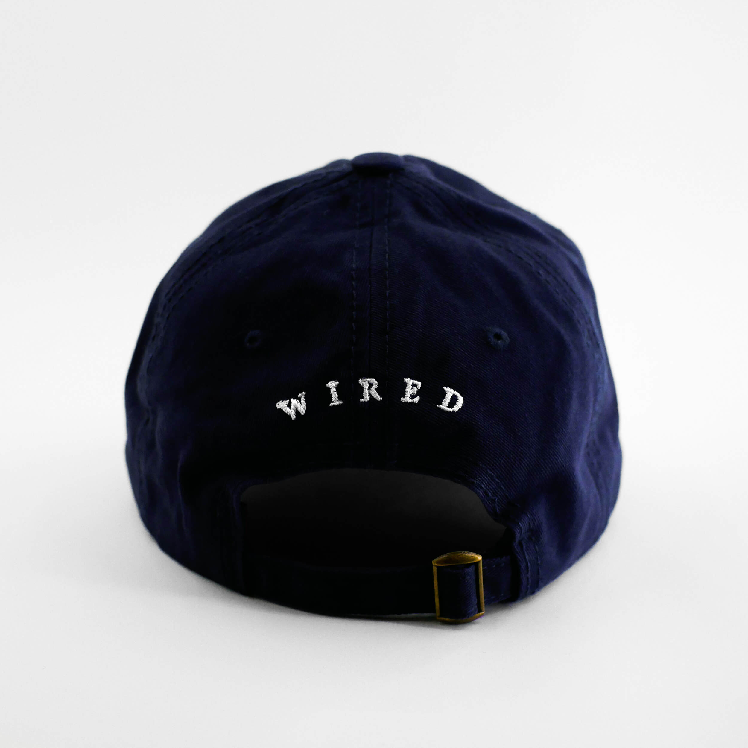 Back view of the embroidered Barbed Wire navy blue hat from PHOSIS Clothing