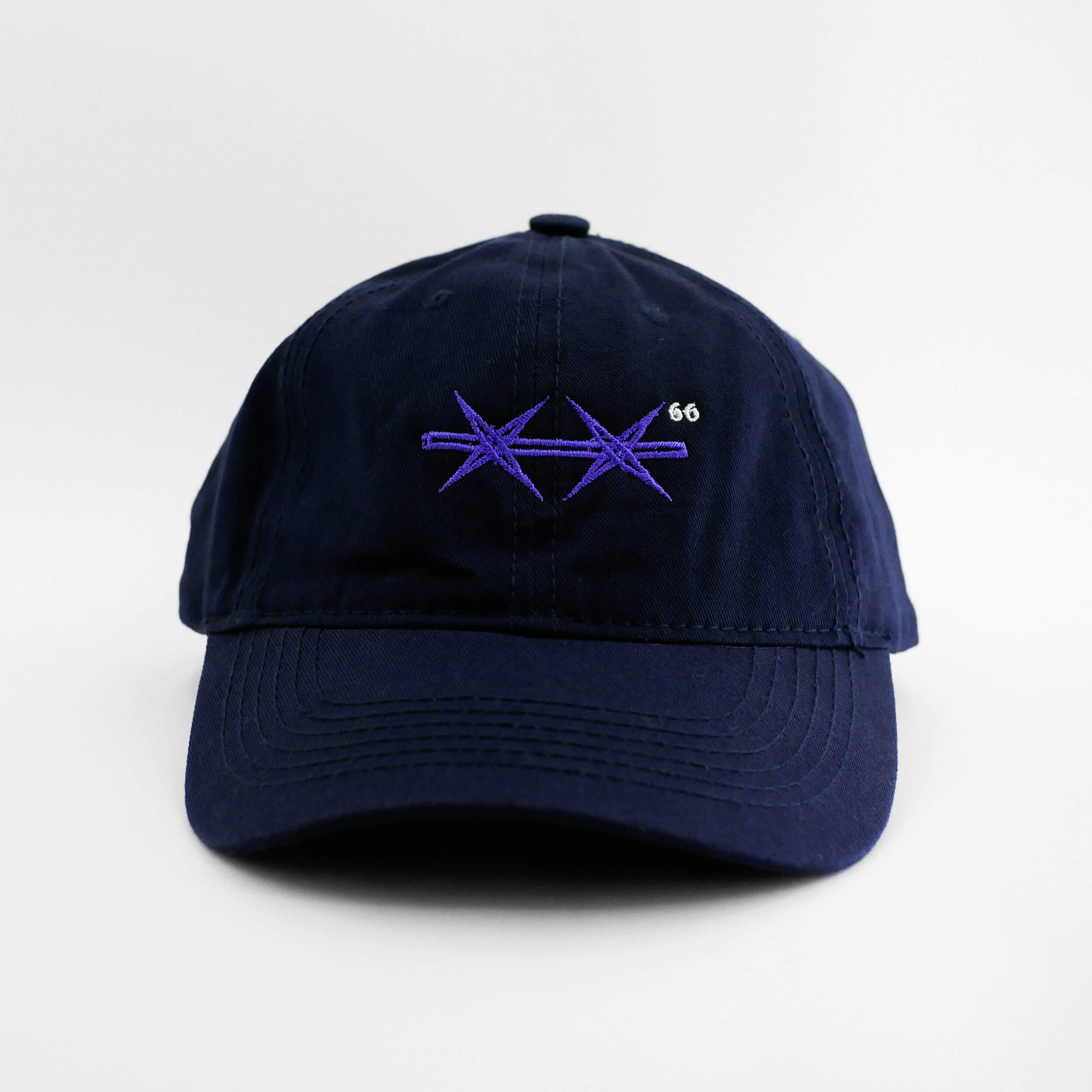 Front view of the embroidered Barbed Wire navy blue hat from PHOSIS Clothing
