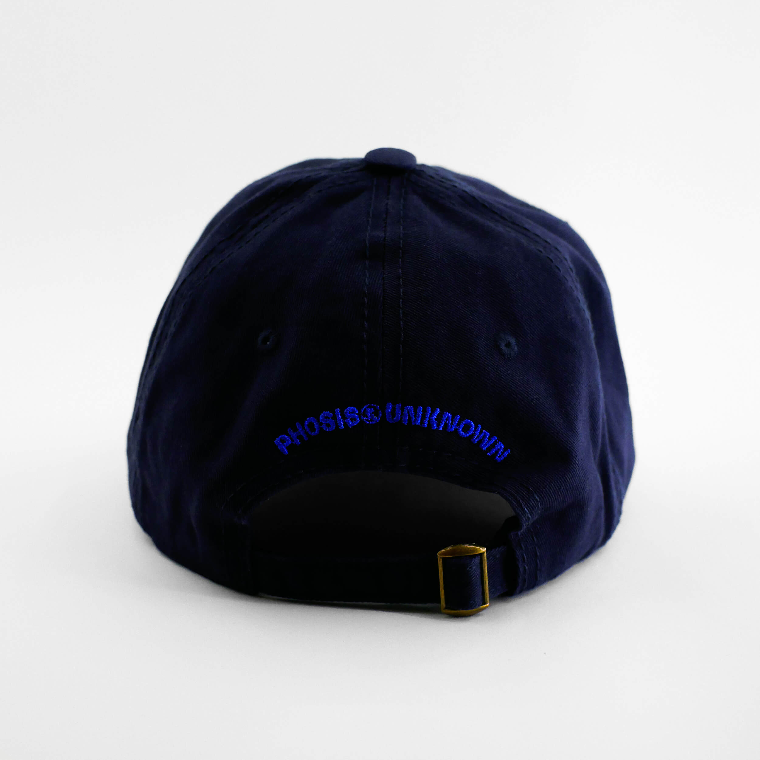 Back view of the embroidered Buttterfly Logo navy blue hat from PHOSIS Clothing
