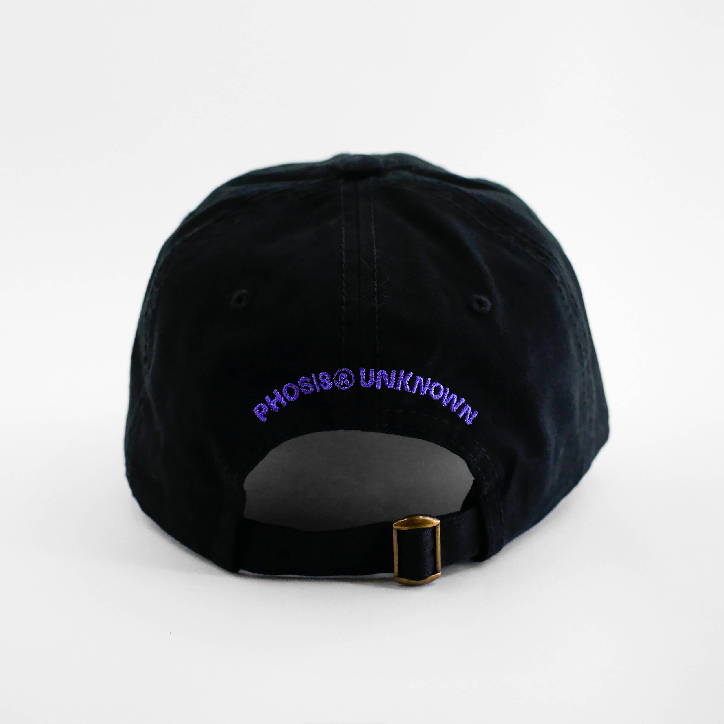Back view of the embroidered 'FLAMBE' black dad hat from PHOSIS Clothing